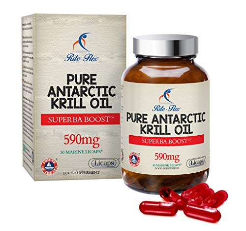 L'huile de krill antarctique pure Rite-Flex Superba Boost™ 590mg 30 gélules marines Licaps® est bénéfique pour le cœur les yeux le cerveau et le foie Contient des phospholipides – Produite en France
