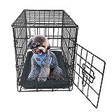 HEPHTONGS - Jaula de metal para perro, plegable, para mascotas, gatos, perros, animales y cachorros, jaula de entrenamiento de metal, bandeja de ABS negra plegable