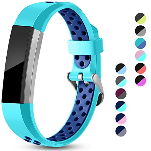 Maledan Replacement Bands Compatible for Fitbit Alta, Fitbit Alta HR and Fitbit Ace, Accessory Sport Bands Air-Holes Breathable Strap Wristbands with Stainless Steel Buckle, Teal/Blue, Small