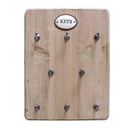 zeitzone Schlüsselbrett Keys 8 Haken Schlüsselkasten Holz Landhausstil Braun 25x33cm