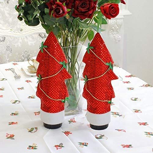 NLRHH 2 Stück Weihnachtsbaum geformt Rotwein Flasche Set Ornament (rot) DIY (Farbe: rot) Peng (Color : Red)