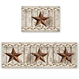 CHARMHOME Kitchen Rug Sets of 2 Piece Non-Slip Soft Absorbe Western Texas Star and Primitive Berries on Country Wooden Plank Kitchen Mat Bath Rug Doormat Runner Carpet Set 16'x24'+16'x47'