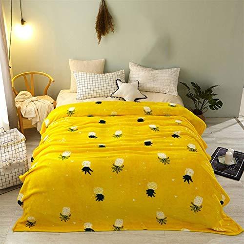 SMEJS Manta de Microfibra de piña Amarilla for Cama y sofá Viaje for Adultos Coral Fleece Winter Textile (Size : X-Large)
