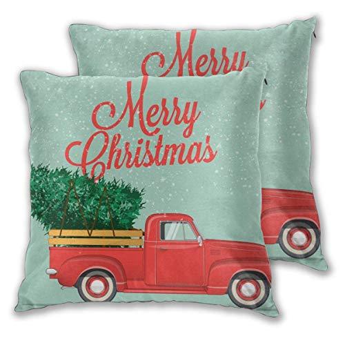 Not Applicable Set di 2 Fodere per Cuscino, camioncino Etro con Fodera per Cuscino per Albero di Natale 45x45 cm