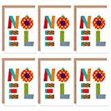 Wee Blue Coo Christmas Cards 6 Pack - Noel Patchwork Colourful Set Xmas Cards Cristo Vistoso