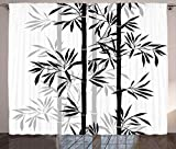 Ambesonne Tree of Life Curtains, Silhouette of Bamboo Tree Leaves Japanese Feng Shui Boho Image, Living Room Bedroom Window Drapes 2 Panel Set, 108' X 84', White Black