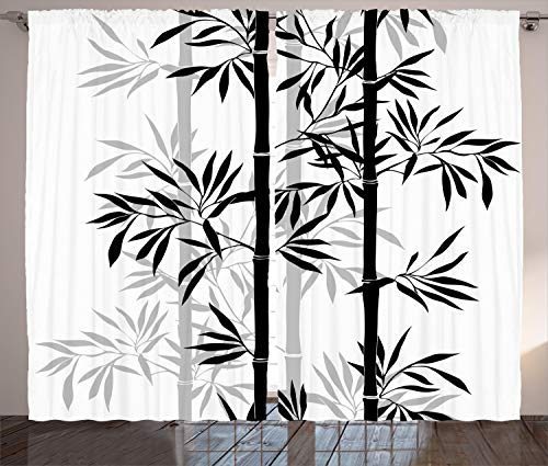 """Ambesonne Tree of Life Curtains, Silhouette of Bamboo Tree Leaves Japanese Feng Shui Boho Image, Living Room Bedroom Window Drapes 2 Panel Set, 108"""" X 63"""", White Black"""