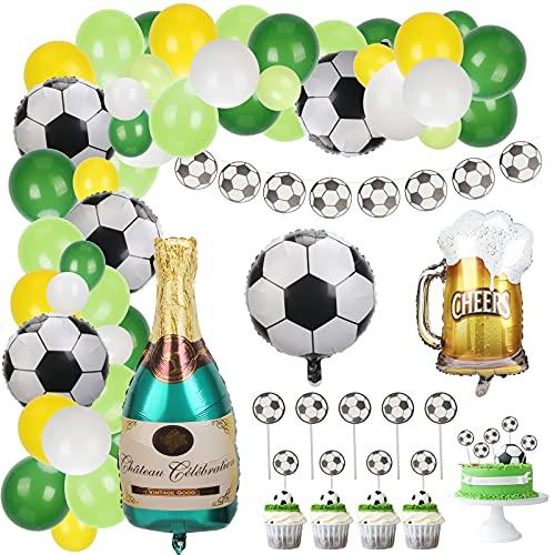 LOPOTIN 56PCS Globos Futbol, Decoración Fiesta Football, Cupcakes Baby Shower Niño Bautizo Bebé Cumpleaños Suministros Guirnalda Adorno Aniversario Partido Fanático Champán Cerveza Colores Surtidos.