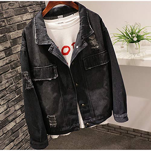 NZJK mode voorjaar jeans jas vrouwen Harajuku zwarte mantel vrouwen vrouwelijk korte dames denim jas