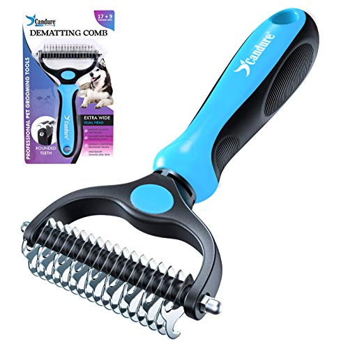 Candure Dematting Comb for Dog and Cat, Pet Grooming Rake and Brushes for...