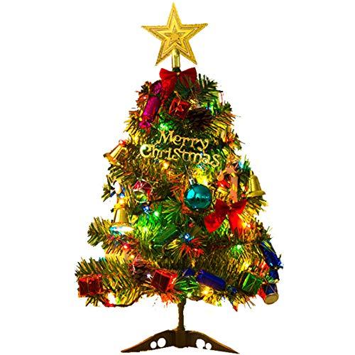Mini árbol de Navidad de 30 cm, pinos de Navidad artificiales, árbol de Navidad de mesa, mini árbol de pino de Navidad con luces LED, adorno de árbol de estrellas y adornos navideños para decoraciones