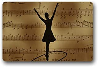 ZMvise Rubber Ballet Dancer with Music Note Door Mat Funny Welcome Entrance Mat 18 x 30 inch