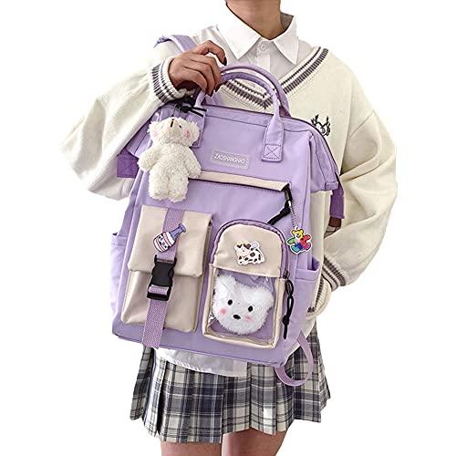 Mochila para mujer, mochila impermeable, mochila escolar con pin Kawaii y accesorios para mochila escolar Kawaii niña mochila linda, Morado+accesorios, Talla única