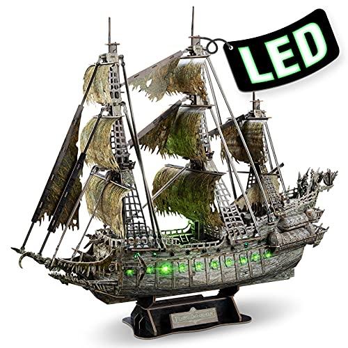 CubicFun Puzzle 3D LED Flying Dutchman Barco Pirata Maquetas para Construir Adultos, Maquetas de Barcos Fantasma de Iluminación Verde Puzzles 3D Kits de Construcción para Adultos Niños 14+, 360 Piezas
