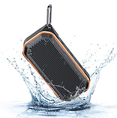 LEZII IPX7 Waterproof Shower Bluetooth Speaker, Portable Wireless Outdoor Speaker With Enhanced Bass, Support TF Card Aux-in, Built-in Mic, 12H Playtime, Hook for Home Pool Beach Bicycle Boating (Red)