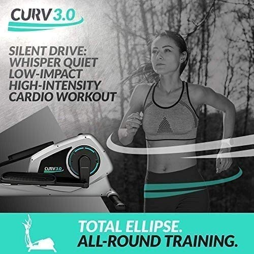 Bluefin Fitness CURV 3.0 Elliptical Cross Trainer | Home Gym | Exercise Step Machine | Air Walker | Long-Stride | Kinomap | Live Video Streaming | Video Coaching & Training | Black & Grey Silver