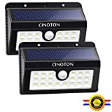 CINOTON Solar Lights Outdoor, Solar Wall Light Motion Sensor, Waterproof LED Security Lights 16 LED with 160° Wide Lighting Angle for Garage, Yard, Front Door, Corridor, Driveway, Porch (20LED)