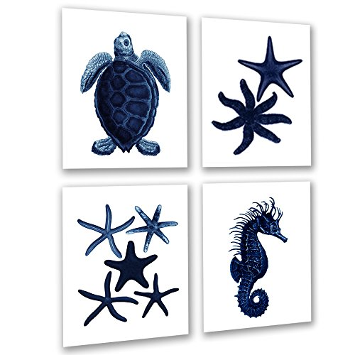 Dark Navy Blue Beach Wall Decor Set of 4 Unframed Seahorse Starfish Beach Bathroom Art Prints