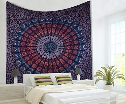 maviss homes Orange Mandala Tapestry Indian Wall Hanging, Wall Tapestries Decoration for Bedroom Living Room