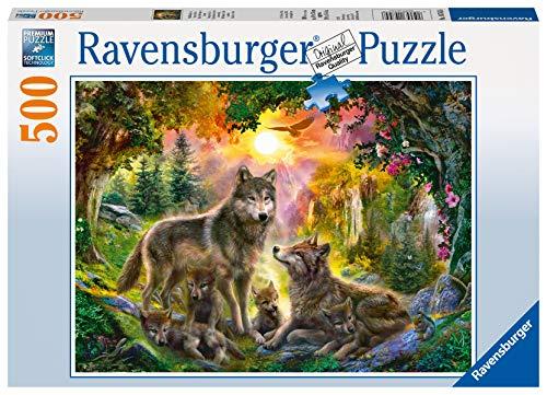 Ravensburger Puzzle 14745 - Wolfsfamilie im Sonnenschein - 500 Teile Puzzle für Erwachsene und Kinder ab 10 Jahren, Puzzle mit Wölfen