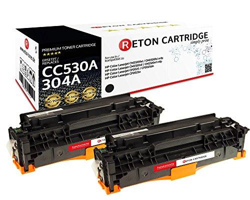 Original Reton Toner, kompatibel, 2er Set-Schwarz für HP CP2025N (CC530A), HP 304A, Color Laserjet CM2320N, CM2320NF, CM2320FXI, CP2025, CP2025N, CP2025DN, CP2025X, CP2020, CM2320MFP, CP2026