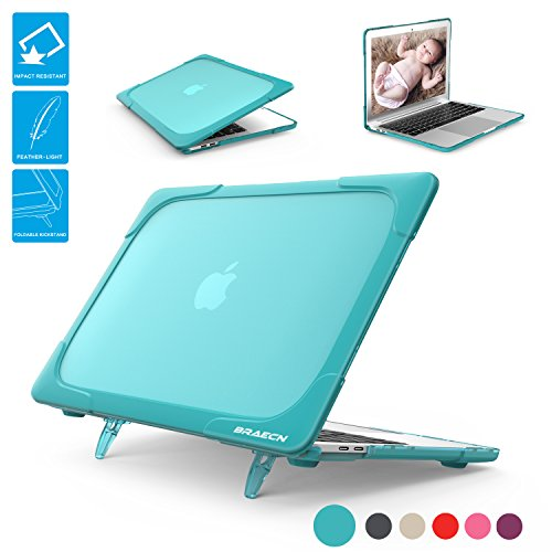 BRAECNstock for Macbook 12 Inch Case, [Heavy Duty] Slim Rubberized [Dual Layer] Hard Case Cove with Foldable Kickstand for Retina 12 inch Display Model A1534 (Newest Version 2017/2016/2015)-Light bule
