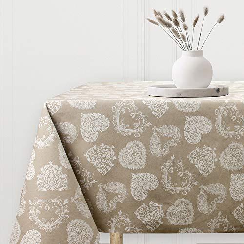 Viste tu hogar Mantel Impermeable Resinado, Mantel para Mesa 140x140 CM, Ancho y Resistente, Ideal para la Decoración de Mesa y Fechas Especiales, Diseño de Corazones