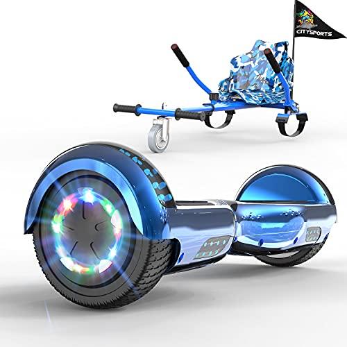 GeekMe Patinete Eléctrico 6.5' con Hoverkart Self Balance Scooter Las Ruedas LED Luces, Scooter eléctrico con Bluetooth Dual Motor 700W