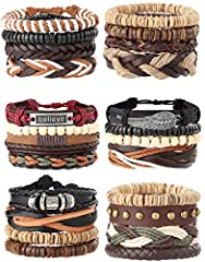 AFFORDABLE BRACELETS SETS:6 Set vintage tribal style adjustable woven braided leather bracelets in a set, including woven leather,hemp cords and wood beads.Different colors and styles can match your daily wear easily. ADJUSTABLE BRACELETS SETS--7.6-1...