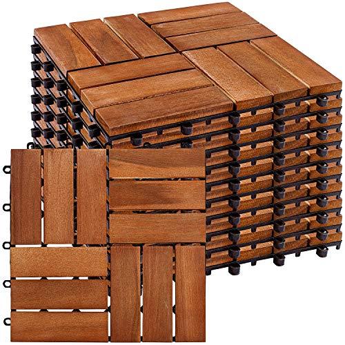 STILISTA® 1m² oder 3m² Holzfliesen aus Akazienholz 11 Stück oder 33 Stück 30x30 cm Fliese Balkonfliesen Terrassenfliesen Gartenfliesen für Garten Terrasse Balkon