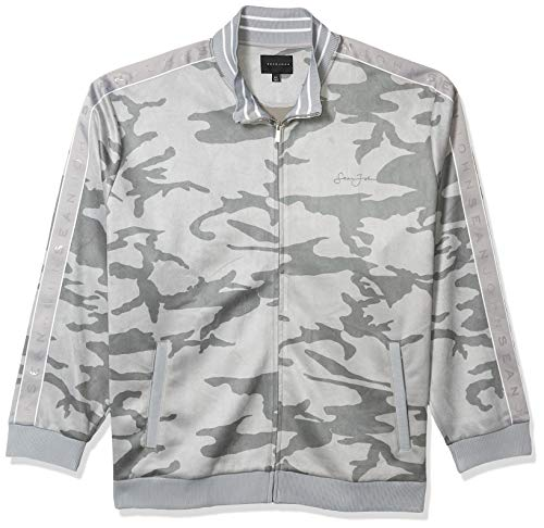 Sean John Men's Zip Up Printed Camo Faux Suede Track Jacket, dust Grey, 4X-Large