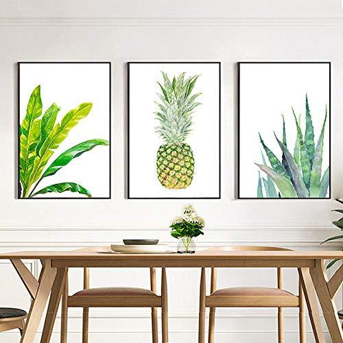 N/A muurkunst canvas ananas cactusbladeren plant druk canvas schilderij kunst poster wooncultuur wandposter woonkamer slaapkamer 40x60cm x 3 niet ingelijst