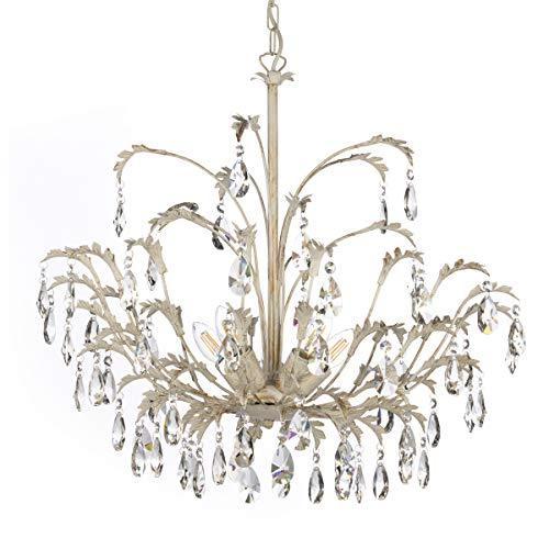 ONLI kroonluchter 5 lampen van metaal ivoorkleurig met druppels van kristalglas