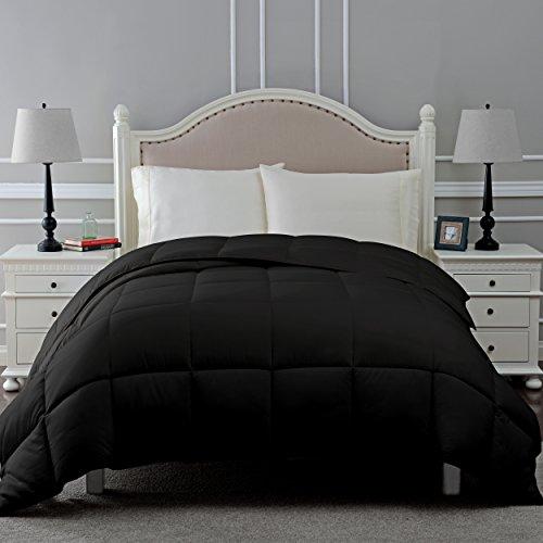 SUPERIOR Down Alternative Comforter - Bed Comforter, Medium-Fill Weight, All Season Comforter, Twin, Black