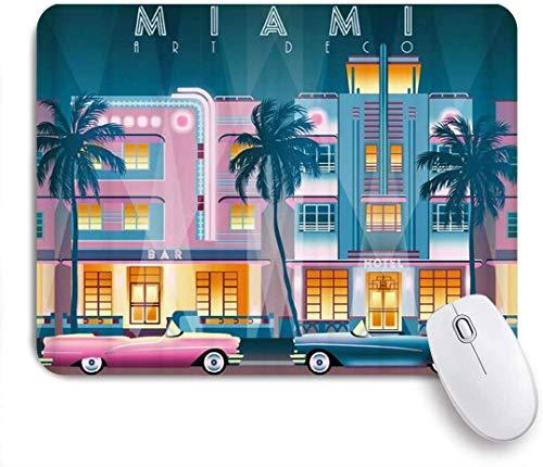 Alfombrilla Raton Doble Mousepad Mouse Mat Alfombrilla para ratón Ilustración de dibujo hecho a mano de estilo Deco Noche en Ocean Drive Todos los edificios de Miami, EE.