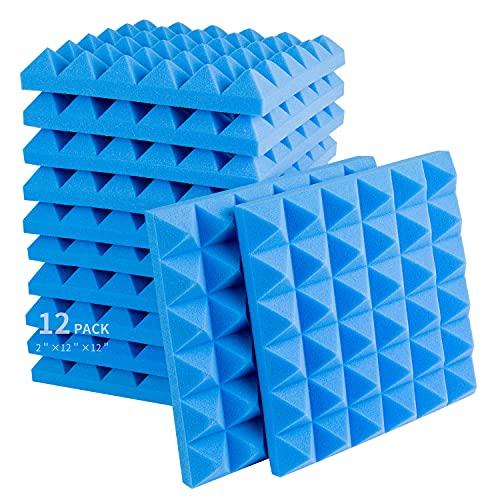Acoustic Foam Panels, 2' X 12' X 12' Studio Wedge Tiles Sound Absorption 3D Pyramid Studio Treatment Wall Panels for Recording Studio, Piano Room, Drum Room (12 Packs, Blue)