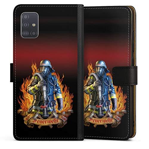 DeinDesign Klapphülle kompatibel mit Samsung Galaxy A51 Handyhülle aus Leder schwarz Flip Case Feuerwehrmann Feuerwehr Beruf