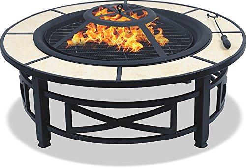 Centurion Supports Nusku runde Feuerschale, luxuriös, multifunktional, schwarz mit Keramikfliesen in 360°, für Garten und Terrasse