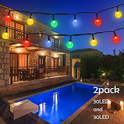 Lalapao Solar Powered Globe String Lights 2 Pack 30 LED