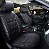 INCH EMPIRE Car Seat Cover Water Proof Synthetic Leather with Single Line Fit for Sedan Pickup Truck Hatchback SUV (Black Full Set)