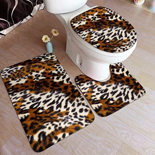 FETEAM Juego de Alfombrillas de baño de 3 Piezas Piel de Leopardo Antideslizante Alfombra, Alfombrilla de Contorno y Cubierta De Tapa 40X60cm