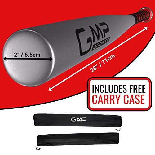 GMP SPORTS - BASEBALL BAT SET 28INCH LIGHTWEIGHT ALUMINIUM BAT FOR OUTDOORS & ROUNDERS OR SELF DEFENCE WITH CARRY CASE (SILVER)
