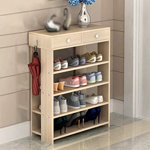 Zapatero de múltiples capas Caja de zapatos Zapatero Tabla de engrosamiento Gabinete de almacenamiento de zapatos a prueba de polvo Almacenamiento Simple Económico (color: arce rojo cereza, tamaño: L
