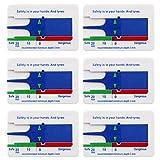 SIMUER 6 Pezzi Spessimetro per Pneumatici, Calibro per la Misurazione della profondità del battistrada 0-20 mm per Autovetture SUV Camion Moto Misurazione la profondità Pneumatico l'automobile - Blu