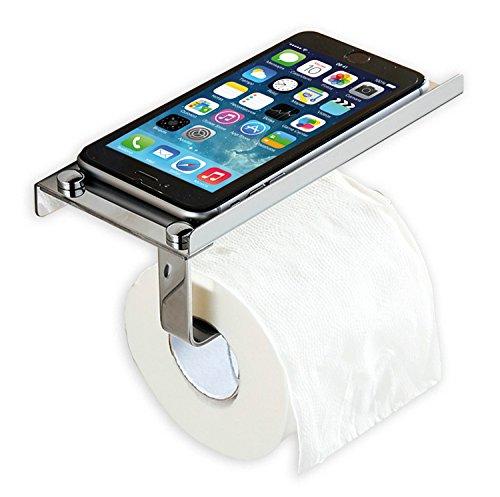 CM BATH toiletrolhouder met ondersteuning voor mobiel of doekjes, RVS Aisi304 helderheidspositie, met lijm of schroeven, Satijn Aluminium, 180 x 95 x 80