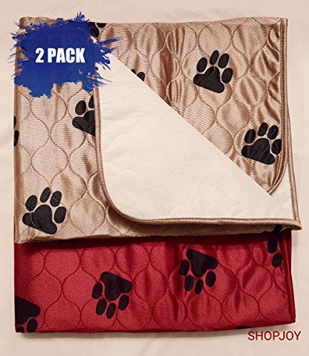 2 Pack Pet Training Pee Pad/Crate Liner Washable Waterproof Reusable Burgundy Tan Large 31x35 Dog Training Home Travel