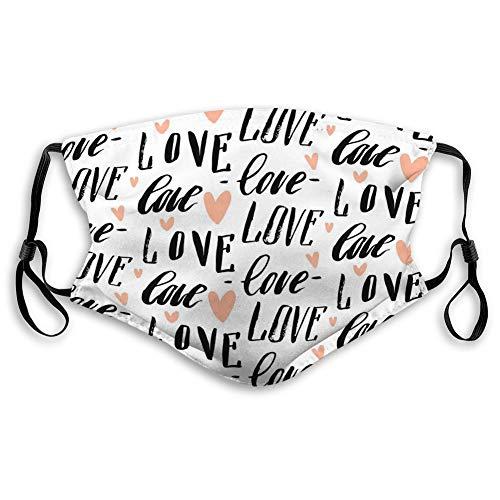 Verstellbare Maske Waschbare Wiederverwendbare Mundgesichtsmaske handgemachte abstrakte Kalligraphie unterscheiden handgeschriebene Liebeswörter Herzen weiß Mode