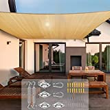Sun Shade Sail with Hardware Kit, Yolife Rectangular Heavy Duty Sail Canopy, 185GSM Fabric UV Block Awning, Commercial Sunshade Cover for Patios, Garden, Backyard, Outdoor Activities (10' x 13', Sand)