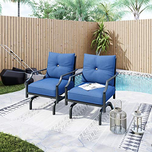 LOKATSE HOME 2 Pieces Outdoor Conversation Furniture Patio Bistro Armchair Set Metal Single Dining Chairs with Cushion, Blue