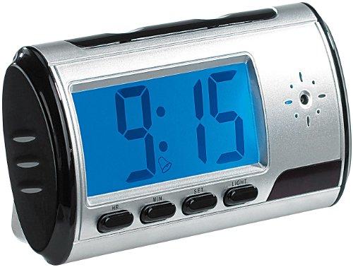 OctaCam tafelklok met camera: tafelklok met SD-videocamera, audio-recorder en wekker (camera wekker)